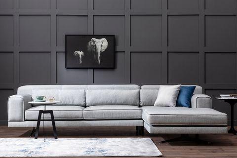 Jivago Corner Chaise Sofa, Right, Grey