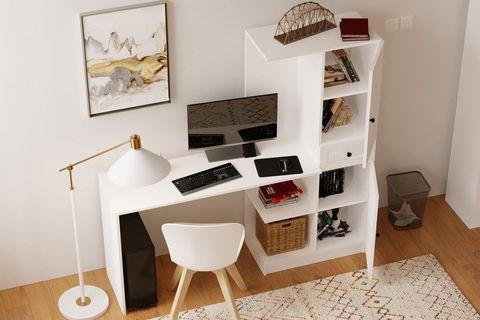 Izel country Study Desk, White