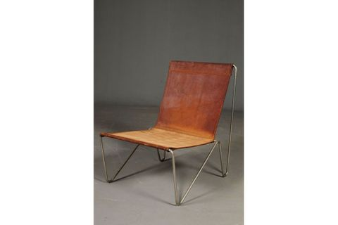 Sohomanje Metal Framed Leather Chair, Brown & Chrome