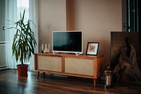 Sliding Door Rattan TV Stand, 150 cm, Natural Wood