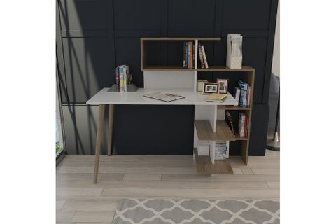 Lagomood Space Desk, White & Dark Wood