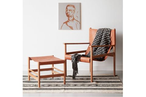 Sohomanje Wooden and Leather Armchair, Natural Brown