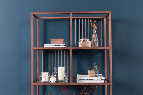 Lola Narrow Bookcase, Rose Gold