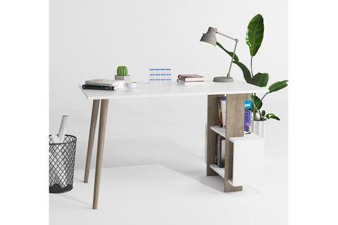 Lagomood Side Desk, White & Dark Wood