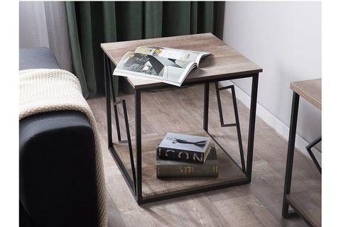 Forres Side Table, Dark Wood & Metal