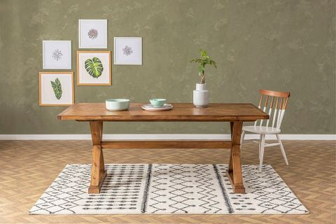 Matis 6-8 Seat Fixed Dining Table, Dark Wood