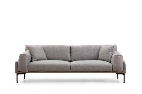 Leo Two Seater Sofa, Grey & Black