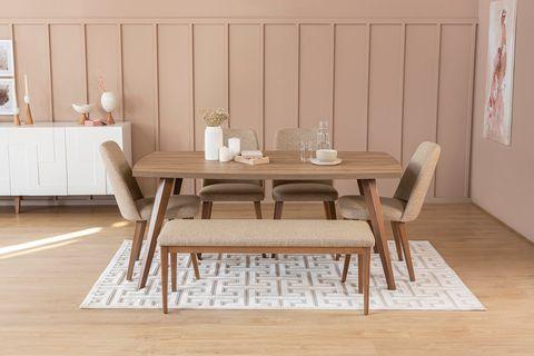Neo 6 Seat Fixed Dining Table, Walnut