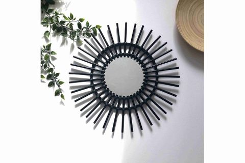 Anna Rattan Mirror, Black