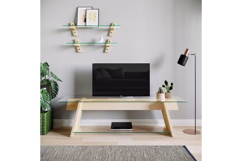 Neostyle Solid Wood TV Stand, Light Wood, 160 cm