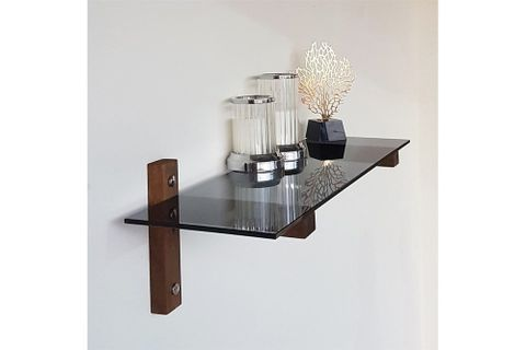 Neostyle - Wall Shelf - Bookcase - Tempered Smoky Glass And Solid Wood