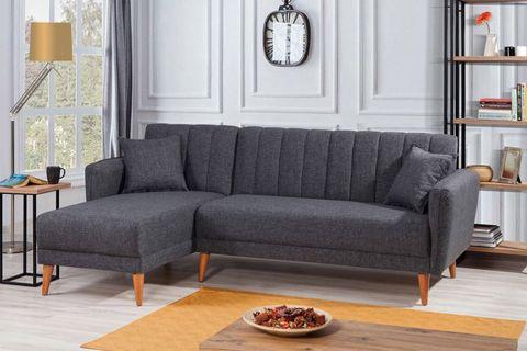 Aqua Corner Chaise Sofa Bed, Left, Charcoal