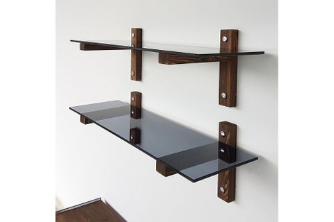 Neostyle - Two Piece Wall Shelf - Bookcase - Tempered Glass And Solid Wood