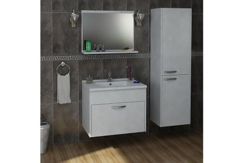 Sonder Under Sink and Wall Mounted Tall Bathroom Cabinet with Sink, White
