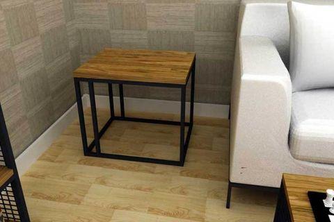 Vial Side Table, Dark Oak & Black