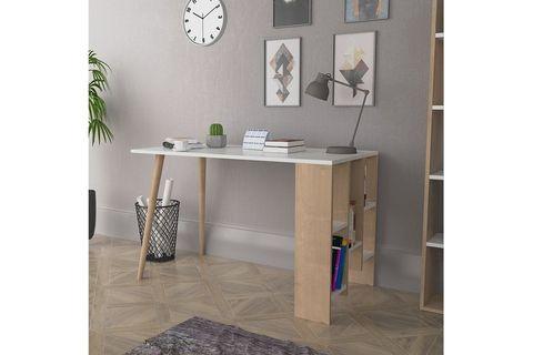 Lagomood Vito Desk, White & Light Wood