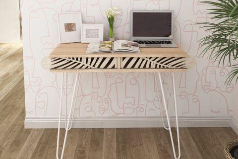 Illia Study Desk, Light Wood & White