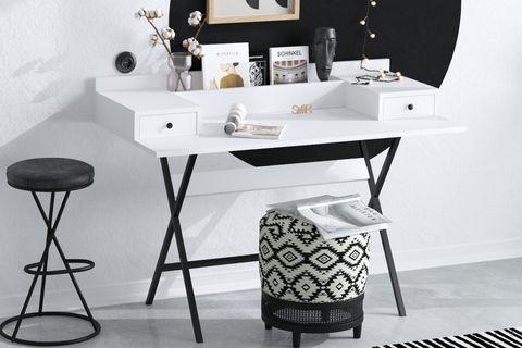 Sera Fiya Study Table, White