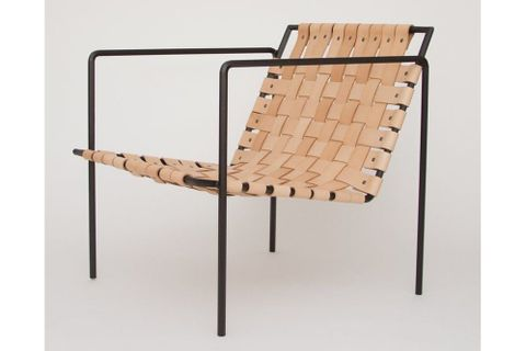Sohomanje Woven Leather Lounge Chair, Beige & Black