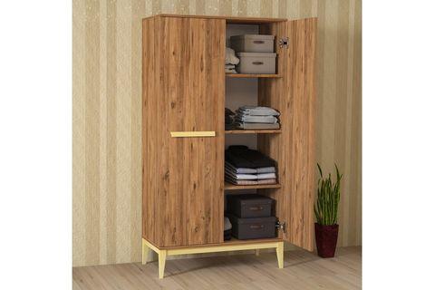 Pasin Wardrobe With Shelves, Light Wood