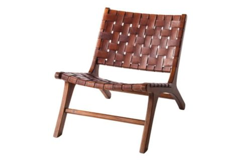 Sohomanje Woven Leather and Wood Armchair, Brown