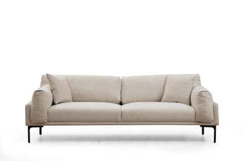 Leo Three Seater Sofa, Ecru & Black