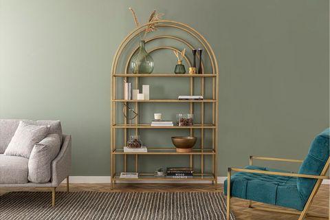 Lola Curve Bookcase, 120cm, Brass