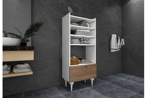 Zenna Multipurpose Bathroom Cabinet, White & Dark Wood