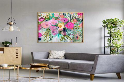TABLOLİFE ABSTRACT FLOWERS YAĞLI BOYA DOKULU TABLO 60X90 CM