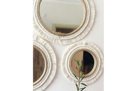 Macrame Boho Mirror, Small, Ecru