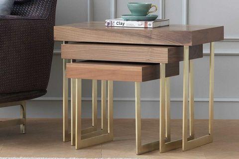 Nepal Nesting Table, Dark Wood & Brass