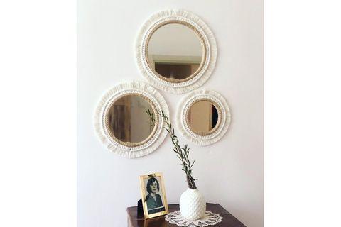 Macrame Boho Mirror, Ecru