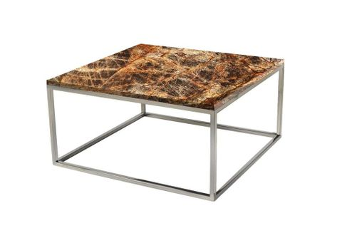Veldi Marble Coffee Table Regen, Brown Marble & Silver