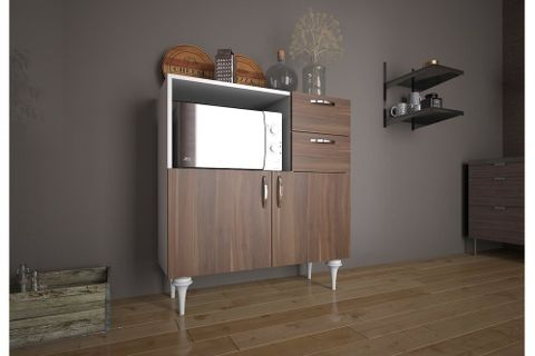 Marvic Multipurpose Kitchen Cabinet, White & Dark Wood