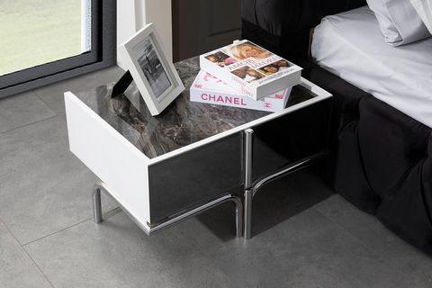Nira Bedside Table, Black & White & Marble