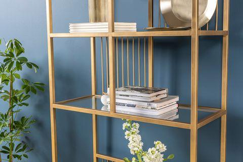 Lola Narrow Bookcase, Brass