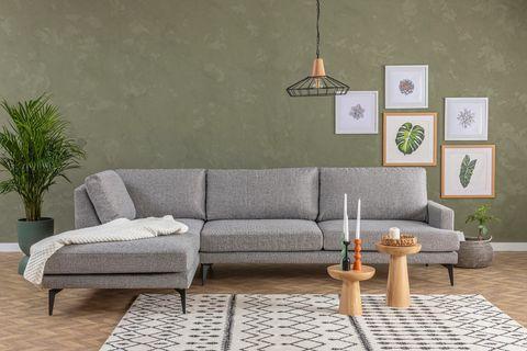 Matilda Corner Chaise Sofa, Left, Light Grey