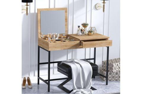 Linda Dressing Table, Light Wood & Black