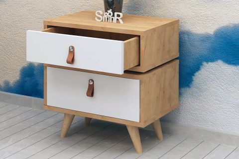 Es Mob Adriana Bedside Table, Light Wood & White