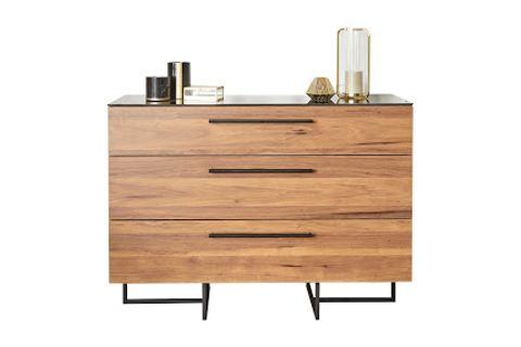 Pandora Glass Dresser, Light Wood
