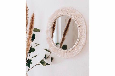 Macrame Bliss Mirror, Medium, Ecru