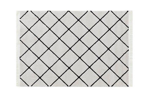 Anna Diamond Shaggy Rug, 160 x 230, Ecru &Black