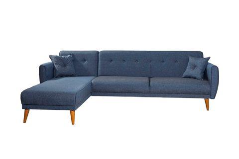 Aria Corner Sofa Bed, Navy Blue (Left)